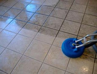 tile being cleaned