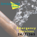 Burst pipe image with ServiceMaster logo