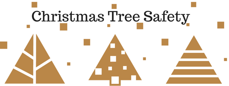 Christmas Tree Safety three gold geometric images of christmas trees.