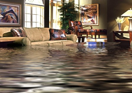 House flooding with water